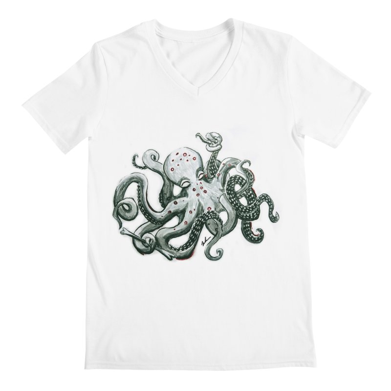 Deep Dive Octopus (Designed by Rogue Duck Arts) Men's V-Neck by Augie's Attic