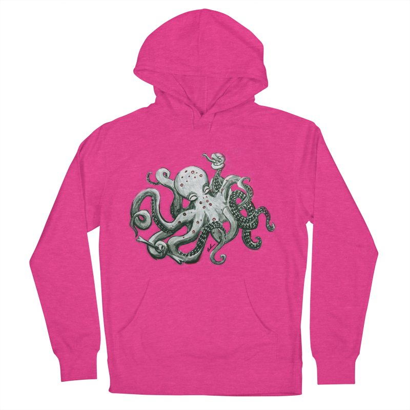 Deep Dive Octopus (Designed by Rogue Duck Arts) Women's French Terry Pullover Hoody by Augie's Attic