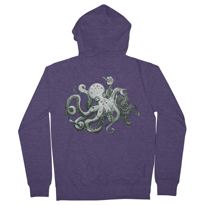 Deep Dive Octopus (Designed by Rogue Duck Arts) Men's French Terry Zip-Up Hoody by Augie's Attic