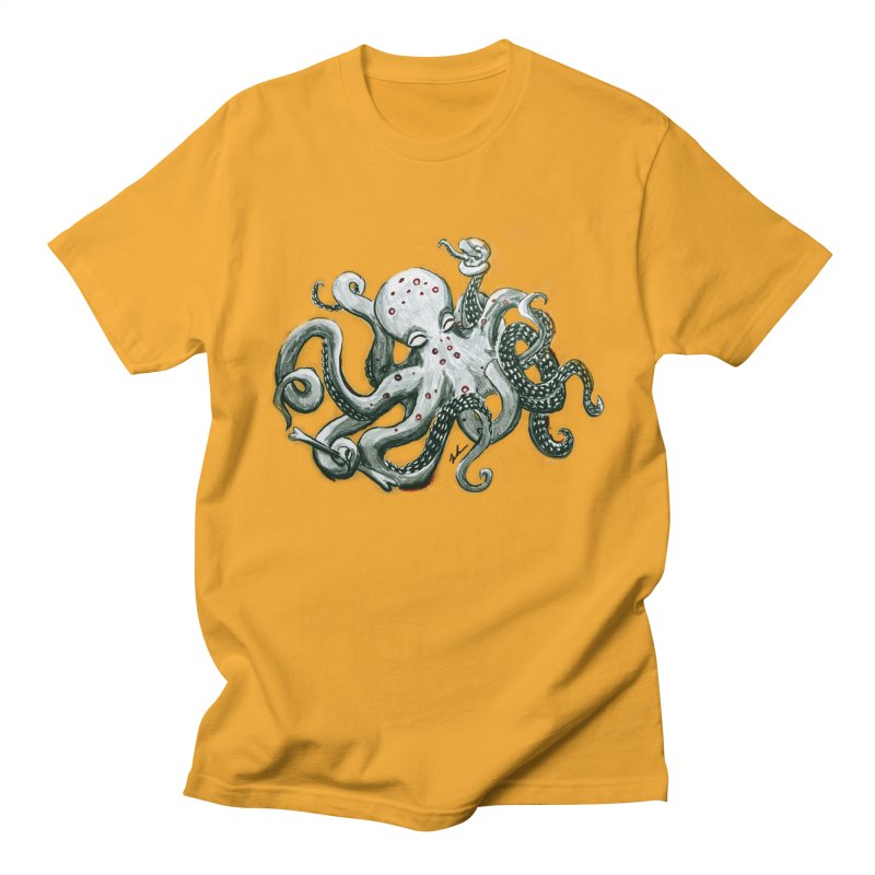 Deep Dive Octopus (Designed by Rogue Duck Arts) Men's Regular T-Shirt by Augie's Attic