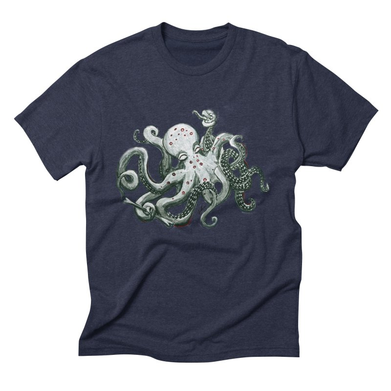 Deep Dive Octopus (Designed by Rogue Duck Arts) Men's Triblend T-Shirt by Augie's Attic