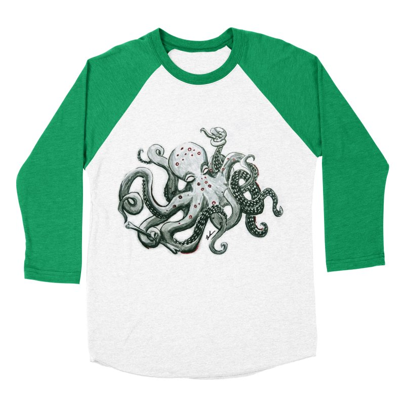 Deep Dive Octopus (Designed by Rogue Duck Arts) Women's Baseball Triblend Longsleeve T-Shirt by Augie's Attic