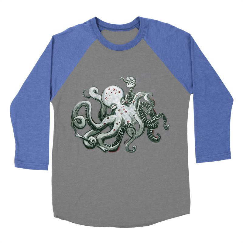Deep Dive Octopus (Designed by Rogue Duck Arts) Men's Baseball Triblend Longsleeve T-Shirt by Augie's Attic