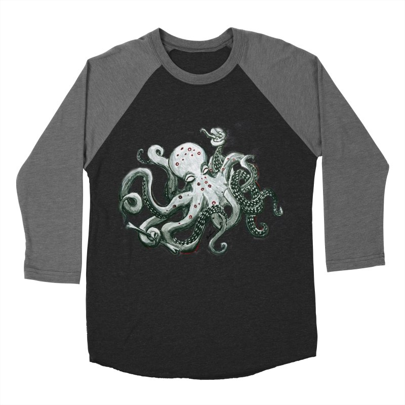 Deep Dive Octopus (Designed by Rogue Duck Arts) Men's Baseball Triblend Longsleeve T-Shirt by Augie's Attic