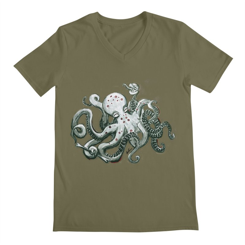 Deep Dive Octopus (Designed by Rogue Duck Arts) Men's Regular V-Neck by Augie's Attic