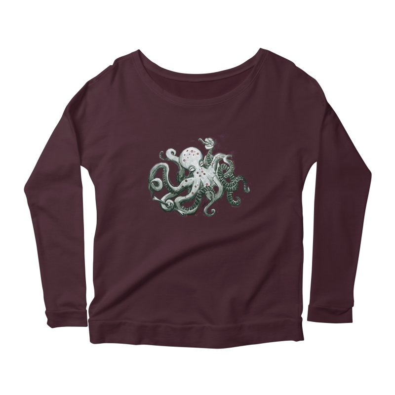 Deep Dive Octopus (Designed by Rogue Duck Arts) Women's Longsleeve T-Shirt by Augie's Attic