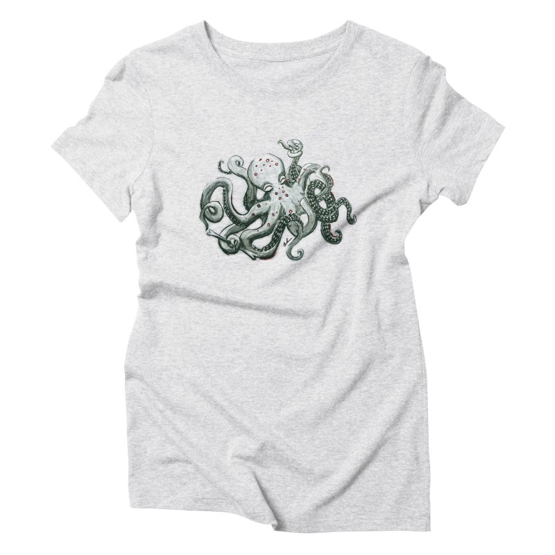 Deep Dive Octopus (Designed by Rogue Duck Arts) Women's T-Shirt by Augie's Attic
