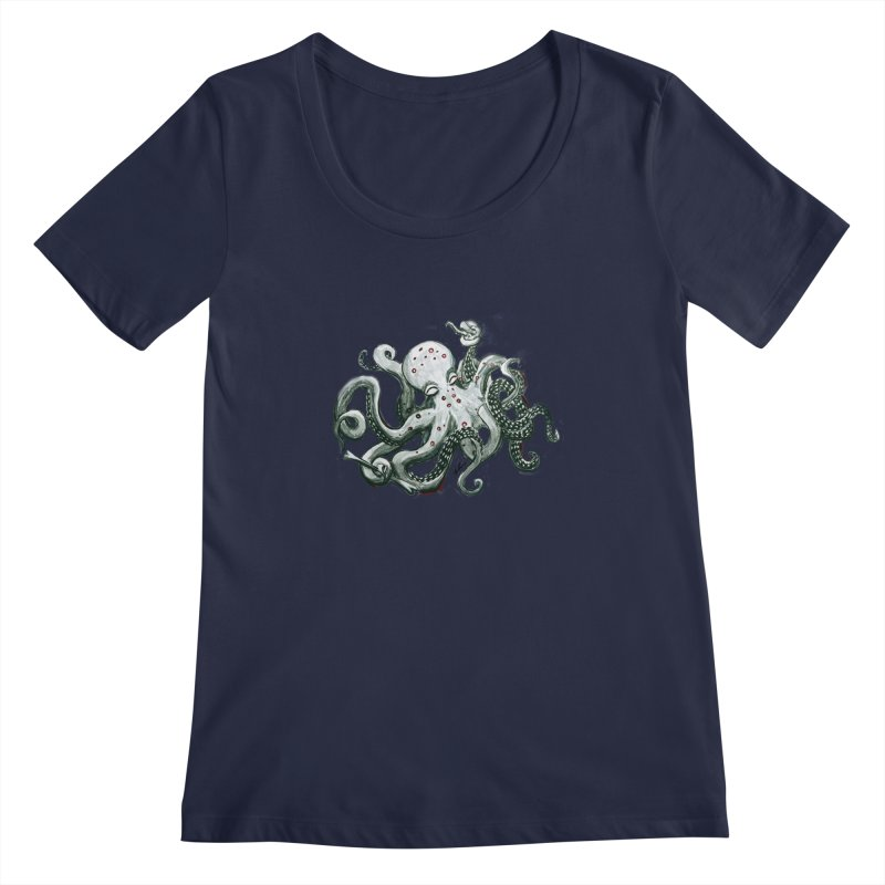 Deep Dive Octopus (Designed by Rogue Duck Arts) Women's Regular Scoop Neck by Augie's Attic