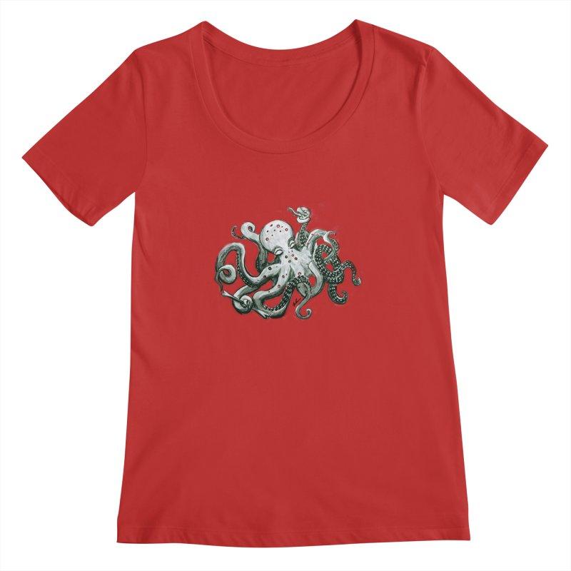 Deep Dive Octopus (Designed by Rogue Duck Arts) Women's Regular Scoop Neck by Augie's Attic