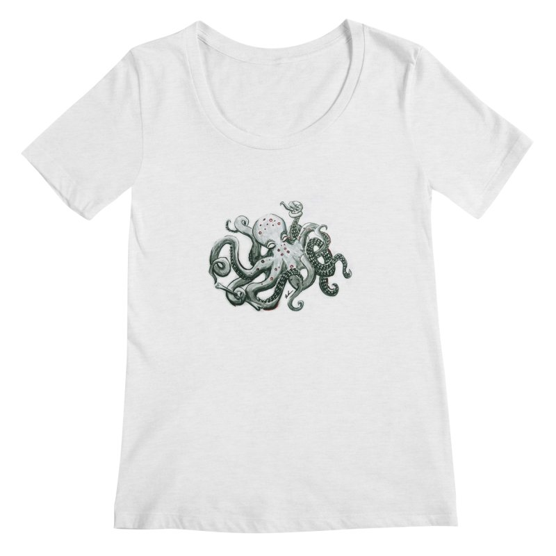 Deep Dive Octopus (Designed by Rogue Duck Arts) Women's Scoop Neck by Augie's Attic