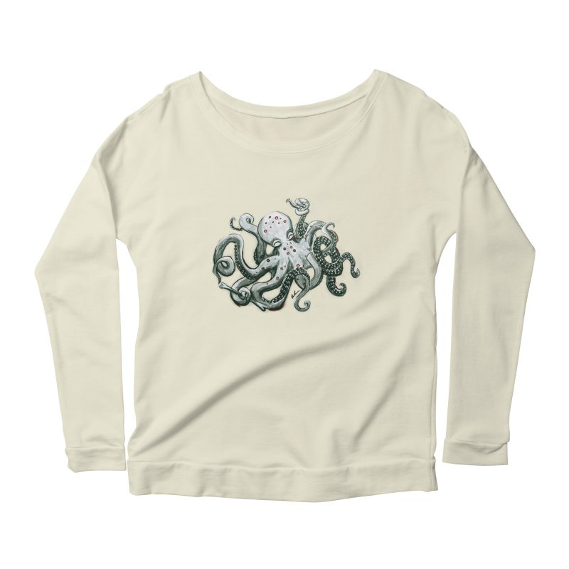 Deep Dive Octopus (Designed by Rogue Duck Arts) Women's Scoop Neck Longsleeve T-Shirt by Augie's Attic