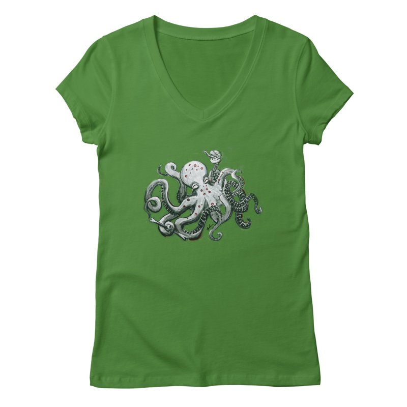 Deep Dive Octopus (Designed by Rogue Duck Arts) Women's Regular V-Neck by Augie's Attic