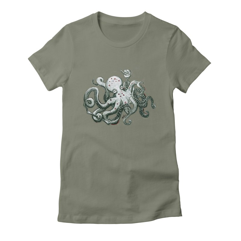 Deep Dive Octopus (Designed by Rogue Duck Arts) Women's Fitted T-Shirt by Augie's Attic