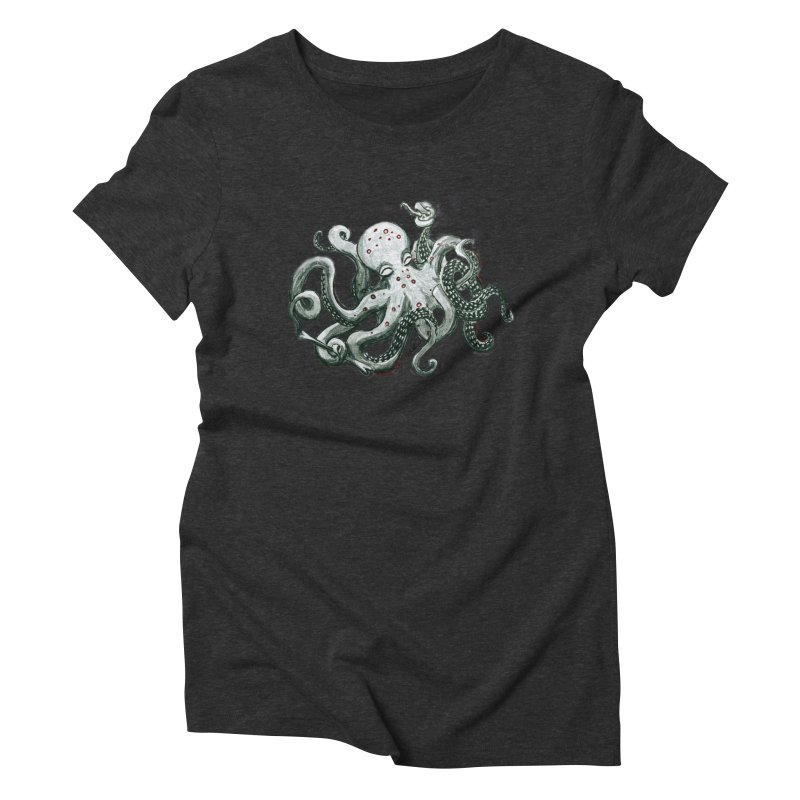 Deep Dive Octopus (Designed by Rogue Duck Arts) Women's Triblend T-Shirt by Augie's Attic