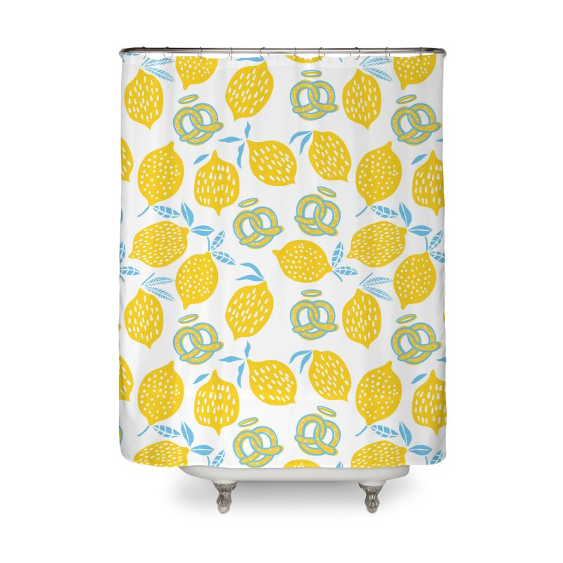 Modern Pretzels & Lemons Home Shower Curtain by AuntieAnne's Artist Shop