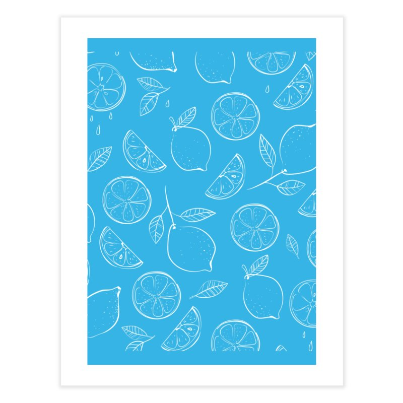 Lemon Pattern Home Fine Art Print by AuntieAnne's Artist Shop