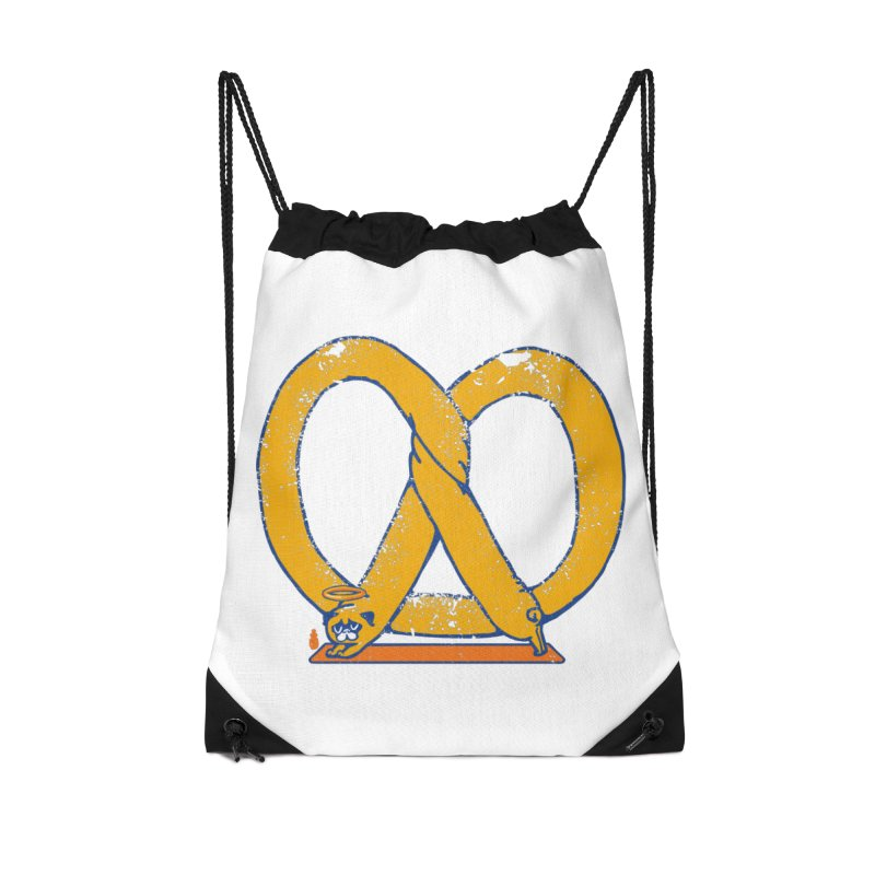 Pretzel Pug Yoga Accessories Drawstring Bag Bag by AuntieAnne's Artist Shop