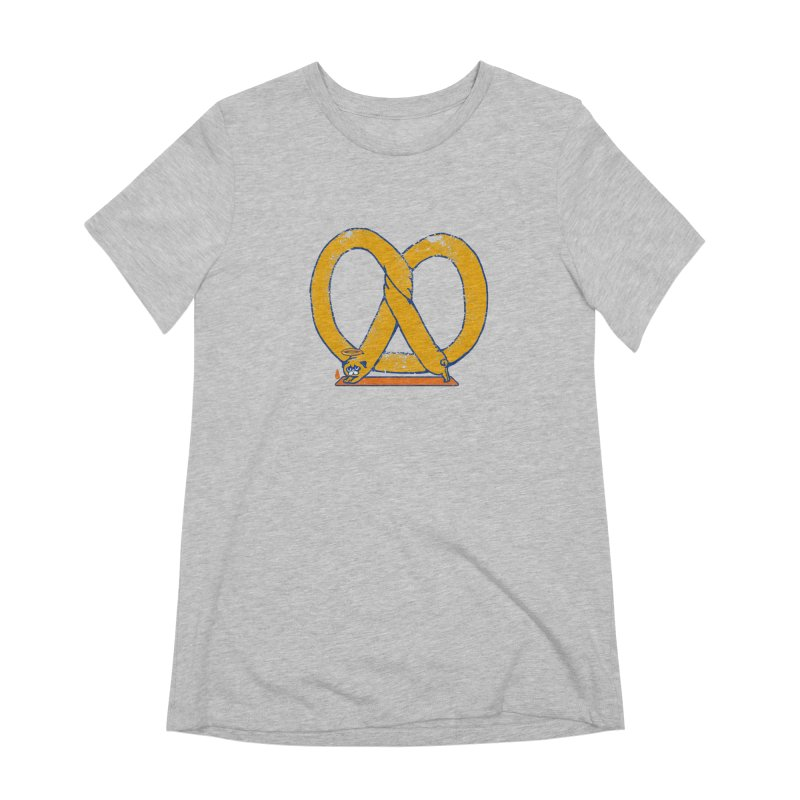 Pretzel Pug Yoga Women's Extra Soft T-Shirt by AuntieAnne's Artist Shop