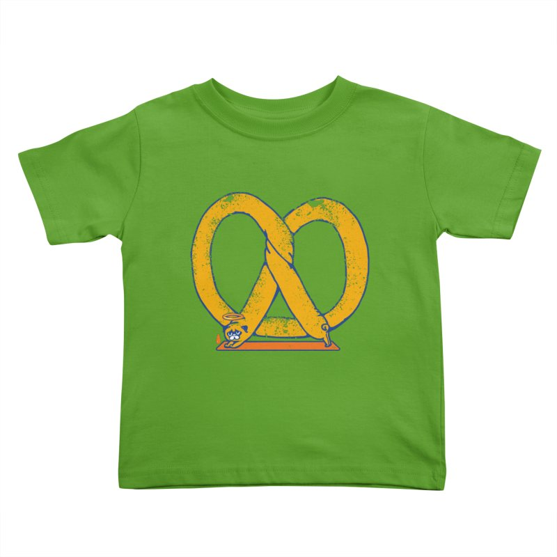 Pretzel Pug Yoga Kids Toddler T-Shirt by AuntieAnne's Artist Shop