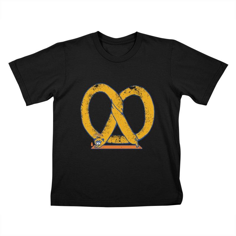 Pretzel Pug Yoga Kids T-Shirt by AuntieAnne's Artist Shop