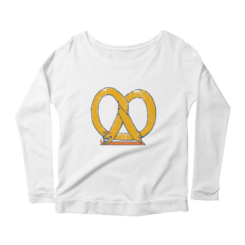 Pretzel Pug Yoga Women's Scoop Neck Longsleeve T-Shirt by AuntieAnne's Artist Shop