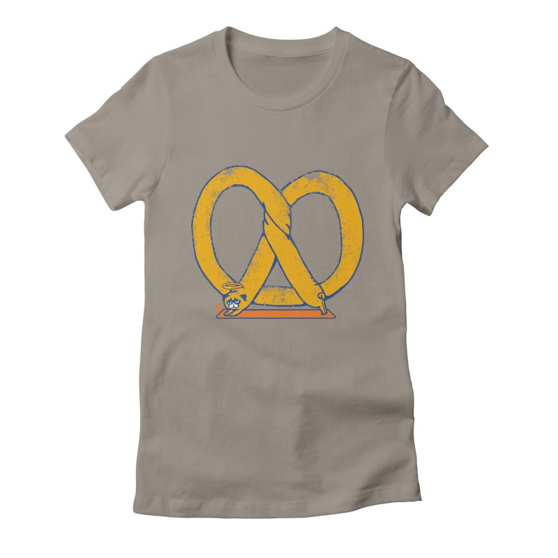 Pretzel Pug Yoga Women's Fitted T-Shirt by AuntieAnne's Artist Shop