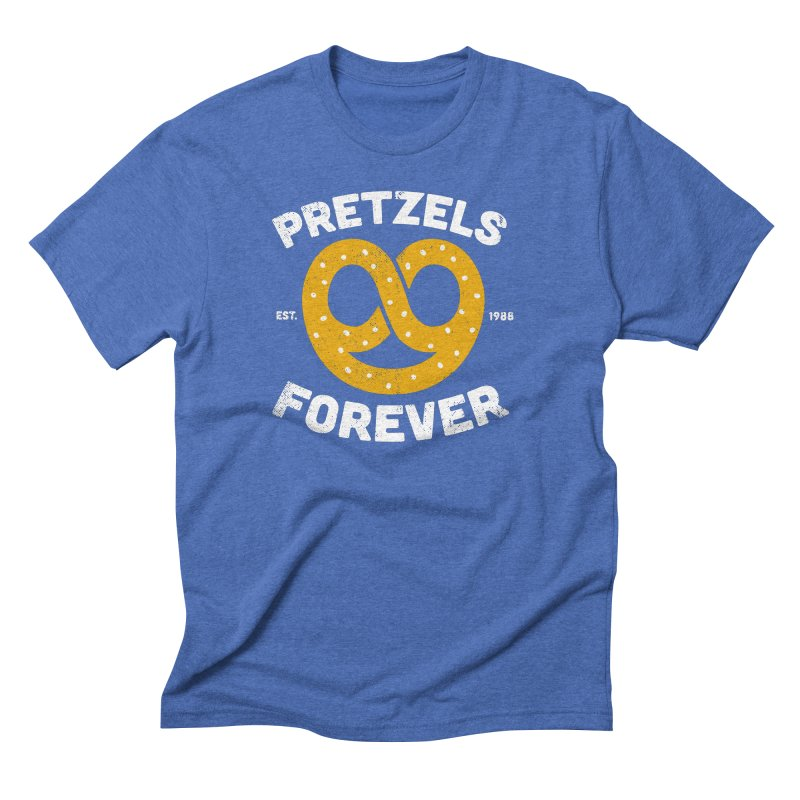 Pretzels Forever in Men's Triblend T-Shirt Blue Triblend by AuntieAnne's Artist Shop