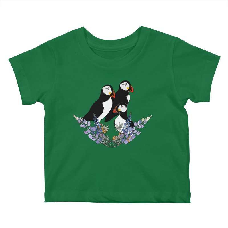 Mother Puffin Kids Baby T-Shirt by P.L. McMillan's Artist Shop