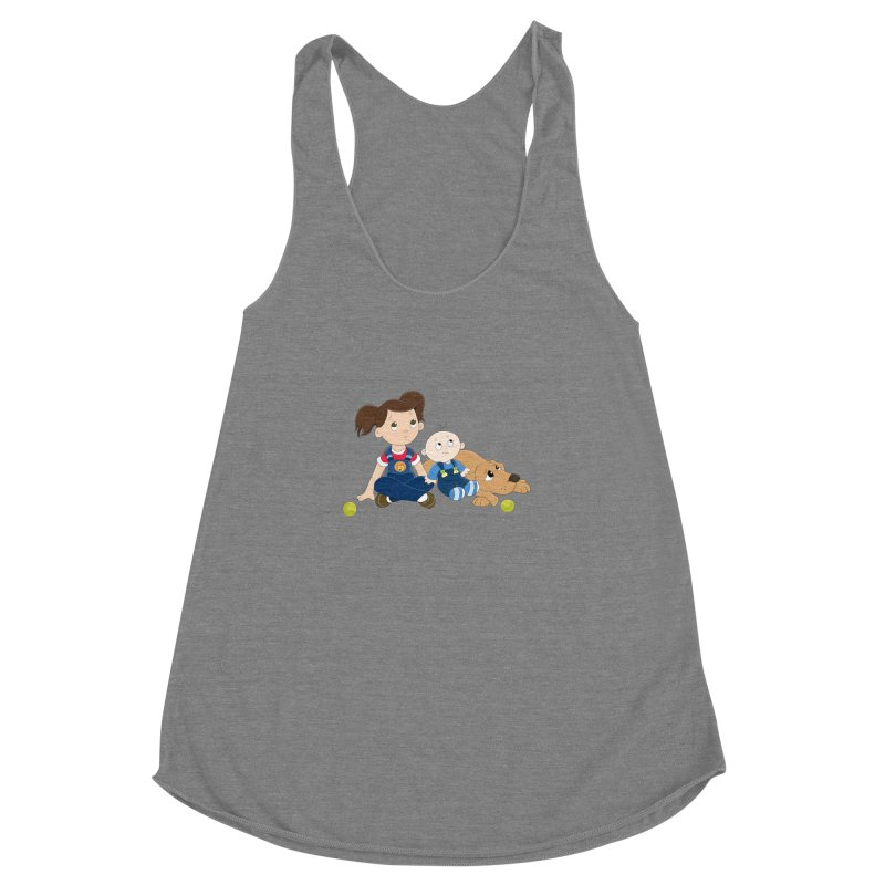 Millie and baby Max- Triple Trouble Women's Racerback Triblend Tank by