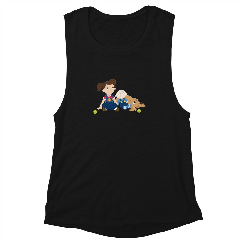Millie and baby Max- Triple Trouble Women's Muscle Tank by
