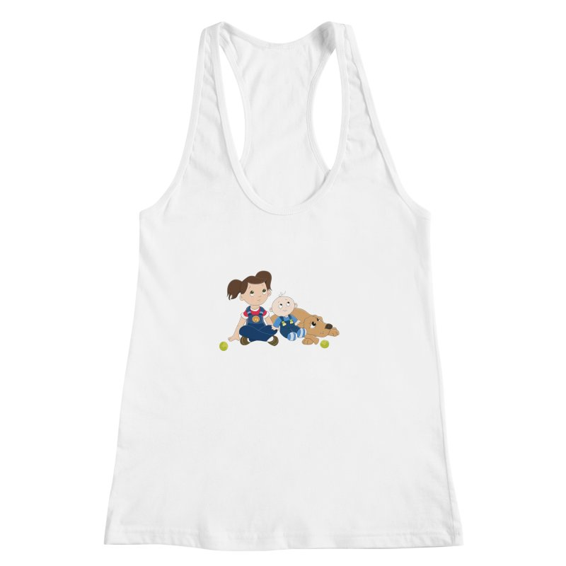 Millie and baby Max- Triple Trouble Women's Racerback Tank by