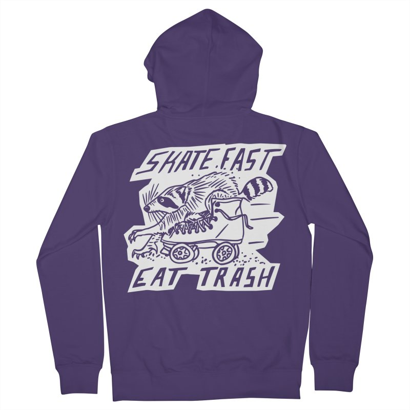 SKATE FAST EAT TRASH Reverse Women's Zip-Up Hoody by Bull City Roller Derby Shop
