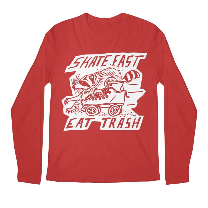 SKATE FAST EAT TRASH Reverse Men's Regular Longsleeve T-Shirt by Bull City Roller Derby Shop