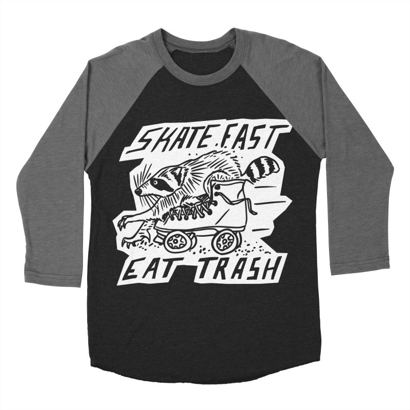 SKATE FAST EAT TRASH Reverse Women's Baseball Triblend Longsleeve T-Shirt by Bull City Roller Derby Shop