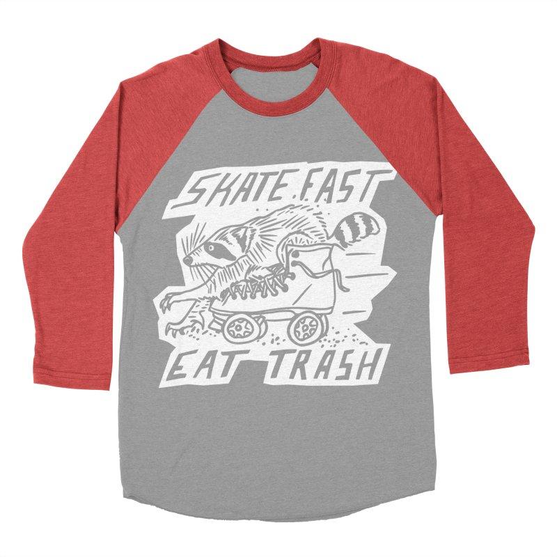 SKATE FAST EAT TRASH Reverse Men's Baseball Triblend Longsleeve T-Shirt by Bull City Roller Derby Shop
