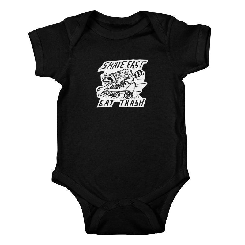 SKATE FAST EAT TRASH Reverse Kids Baby Bodysuit by Bull City Roller Derby Shop