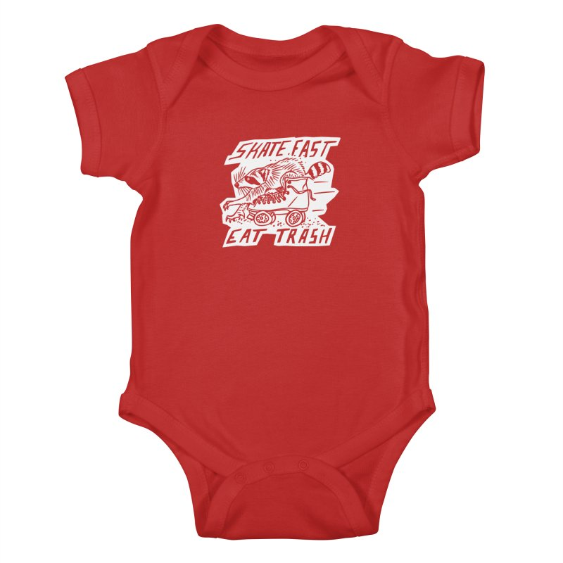 SKATE FAST EAT TRASH Reverse Kids Baby Bodysuit by Bull City Roller Derby Shop