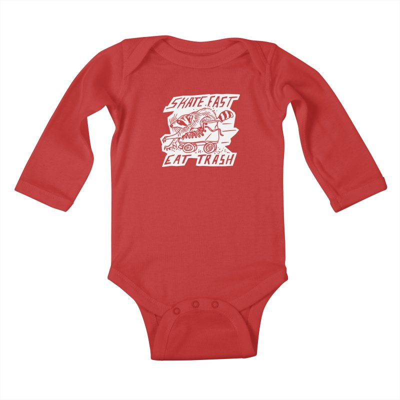 SKATE FAST EAT TRASH Reverse Kids Baby Longsleeve Bodysuit by Bull City Roller Derby Shop