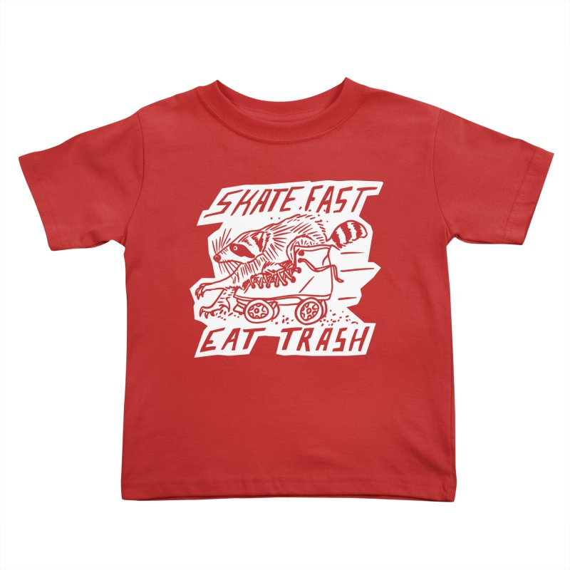 SKATE FAST EAT TRASH Reverse Kids Toddler T-Shirt by Bull City Roller Derby Shop