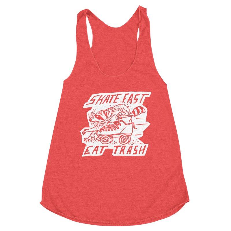 SKATE FAST EAT TRASH Reverse Women's Tank by Bull City Roller Derby Shop