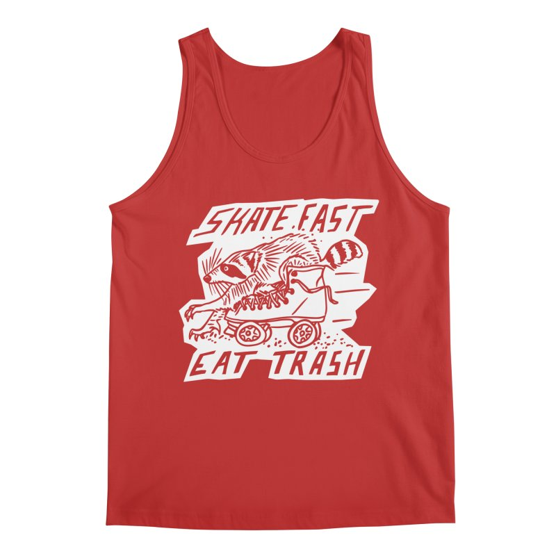 SKATE FAST EAT TRASH Reverse Men's Regular Tank by Bull City Roller Derby Shop