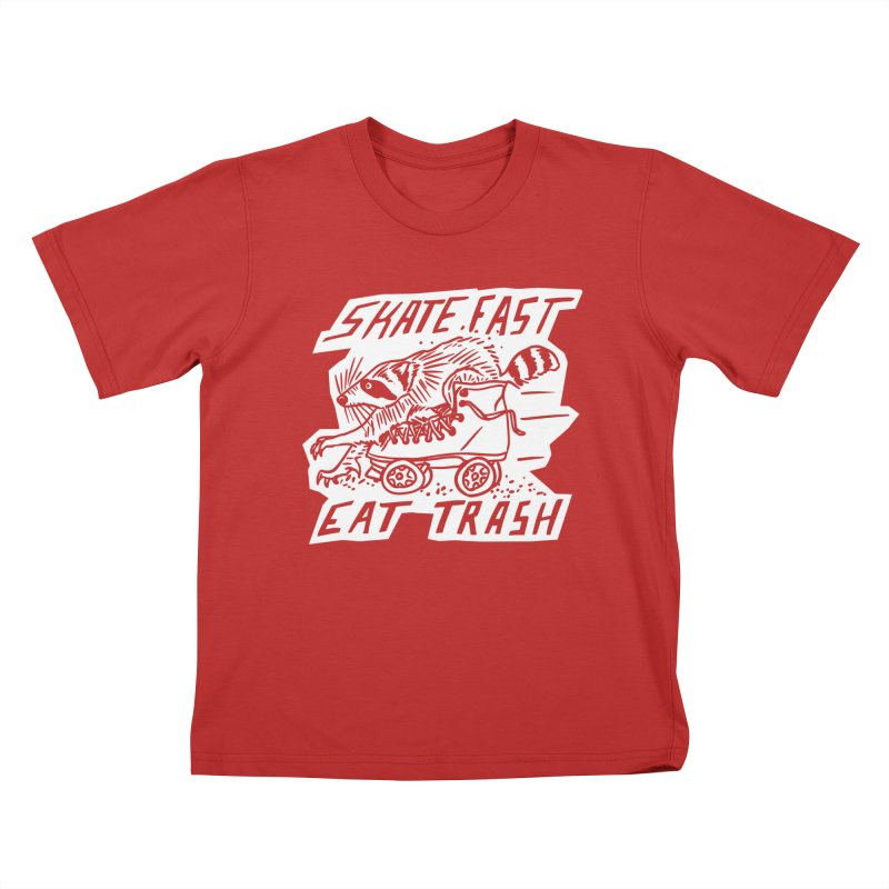 SKATE FAST EAT TRASH Reverse Kids T-Shirt by Bull City Roller Derby Shop