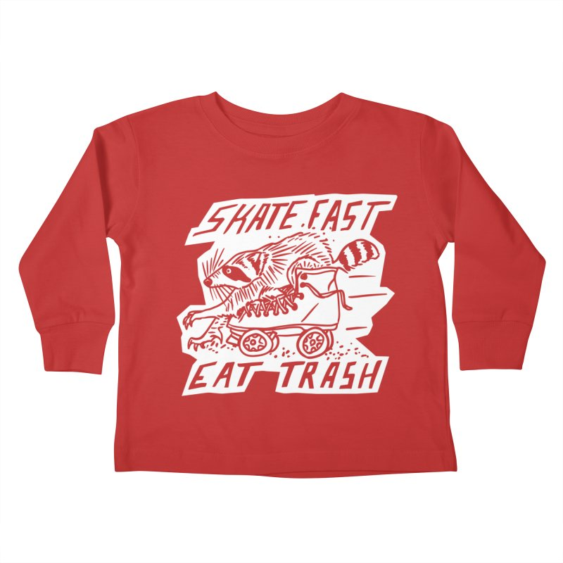 SKATE FAST EAT TRASH Reverse Kids Toddler Longsleeve T-Shirt by Bull City Roller Derby Shop