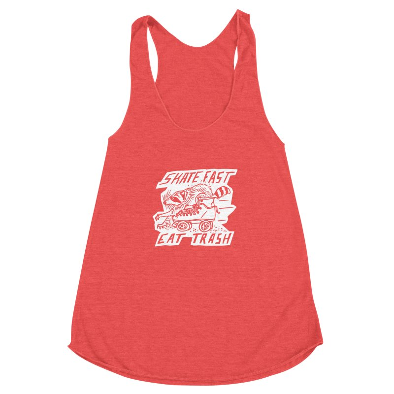 SKATE FAST EAT TRASH Reverse Women's Racerback Triblend Tank by Bull City Roller Derby Shop