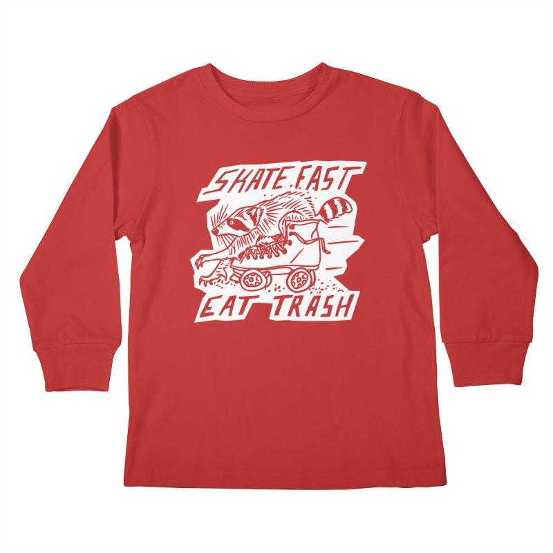 SKATE FAST EAT TRASH Reverse Kids Longsleeve T-Shirt by Bull City Roller Derby Shop