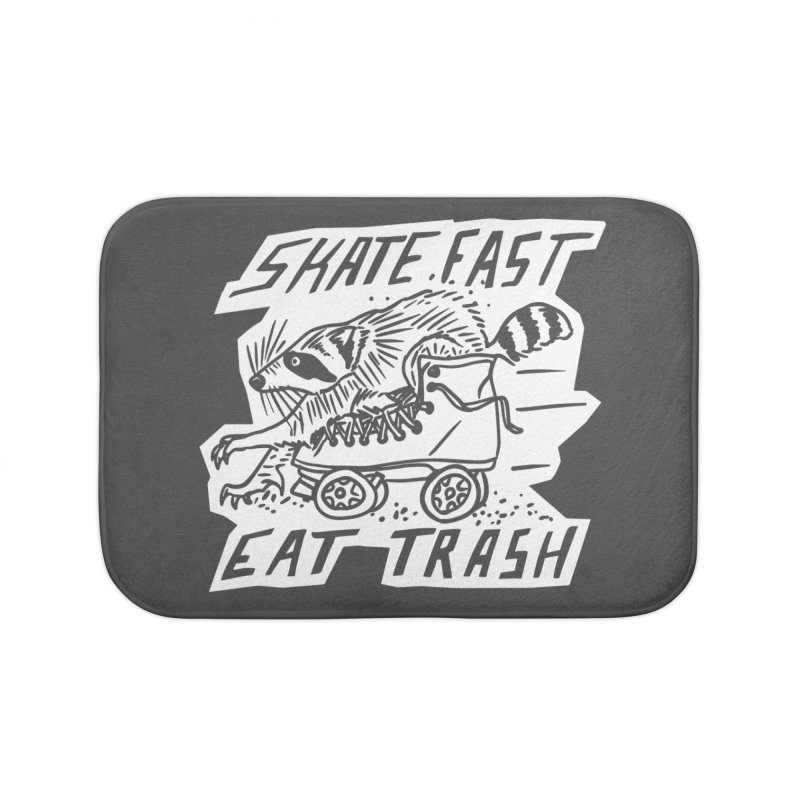 SKATE FAST EAT TRASH Reverse Home Bath Mat by Bull City Roller Derby Shop