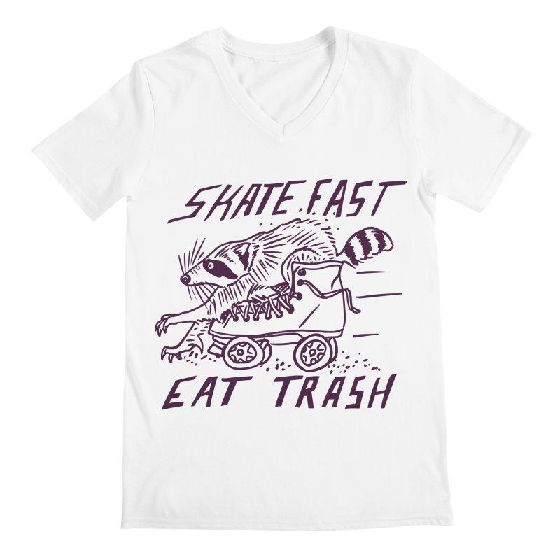 SKATE FAST EAT TRASH Men's Regular V-Neck by Bull City Roller Derby Shop