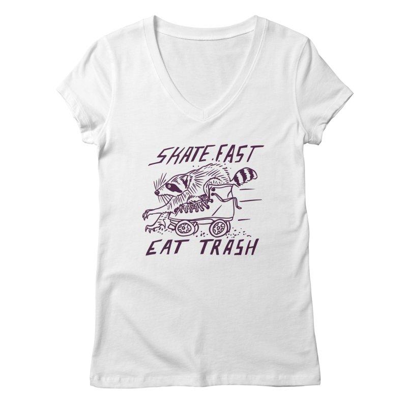 SKATE FAST EAT TRASH Women's V-Neck by Bull City Roller Derby Shop