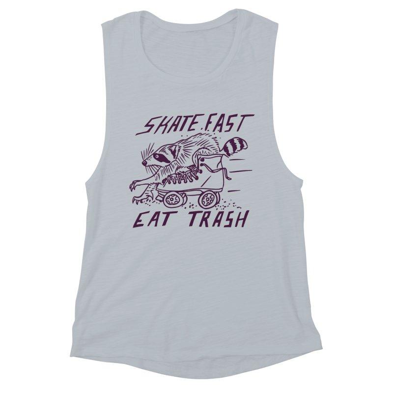 SKATE FAST EAT TRASH Women's Muscle Tank by Bull City Roller Derby Shop