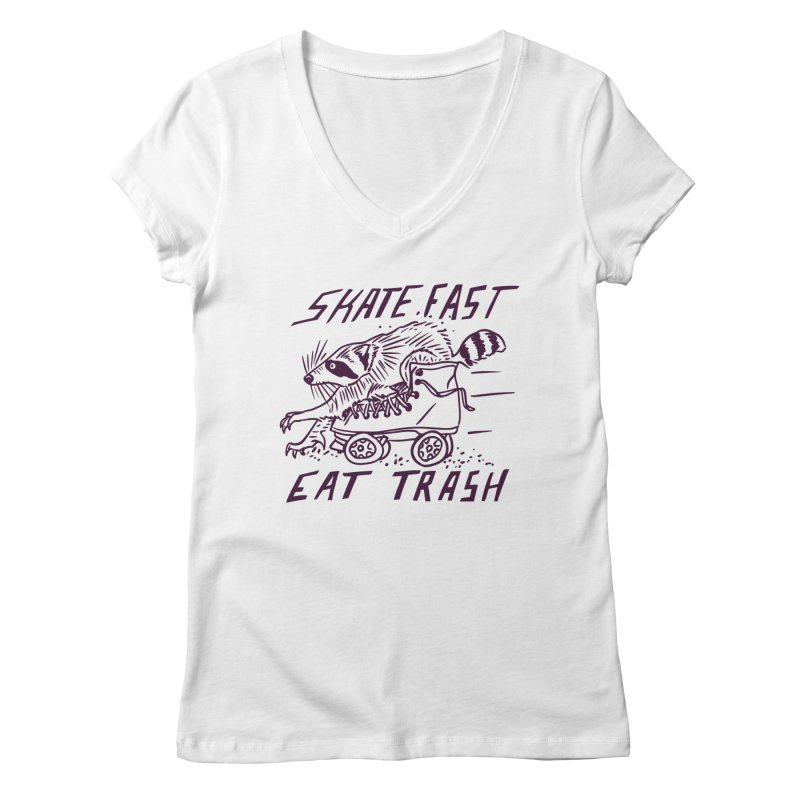 SKATE FAST EAT TRASH Women's V-Neck by Bull City Roller Derby Shop